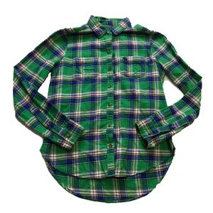 Abercrombie Cotton Plaid Button Up Blouse Shirt L